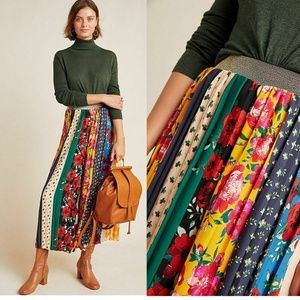 Anthropologie Spirited Patchwork Wide-Leg Pants